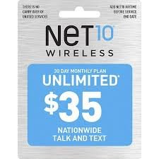 Net10 Monthly Plan Refill Card $35