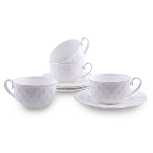 White China Teacup - T4U 5 Ounce Damond Bone China Coffee Cups and Saucers with Handle for Coffee Latt Mocha Cappuccino Espresso Tea Cups and Saucer White sets of 4