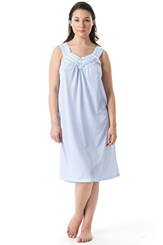 Casual Nights Women's Fancy Lace Trim Sleeveless Nightgown - Striped/Blue - Large