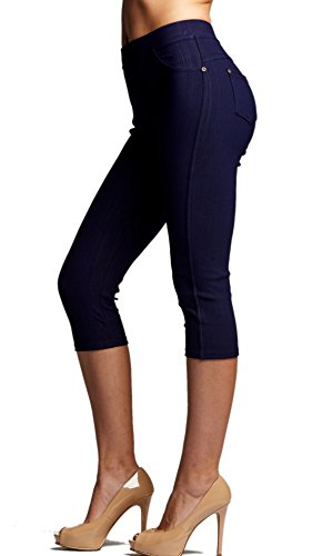 Premium Jeggings - Denim Leggings - Cotton Stretch Blend - Capri Indigo Blue - X-Large/XX-Large