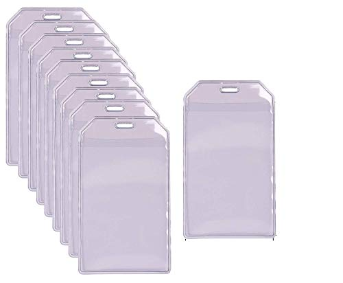 - PTC Office Vertical Style Waterproof Clear PVC Business ID Credit Card Case Protector Name Tag Badge Holder Sleeves (10PCS)