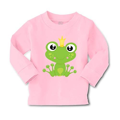 - Cute Rascals Prince Frog Sits Long Sleeve Crewneck Toddler Boys-Girls Cotton T-Shirt Tee - Soft Pink, 5/6T