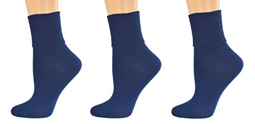 Sierra Socks Women's Organic Cotton Extra Smooth Toe Seaming 3 pair Pack (Fits Shoe Size 4-10, Socks Size 9-11, Navy (3 Pair Pack))