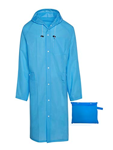 BlinQ Portable Rain Poncho Rain Jacket Raincoat with Drawstring Hood and Pocket | Extra Long Lightweight Packable Waterproof Rainwear | Adult Reusable Men Womens Rain Coat for Outdoor Travel - Blue