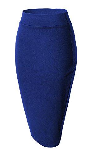 Urban Femmes Genou Haute Pour Goco Au Taille Bleu Crayon Jupe Droite Royal Élasticité Midi À Bodycon xBrnOB