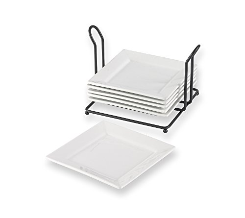 Living Quarters Whiteware Set of 6 Square Appetizer Plates & Caddy