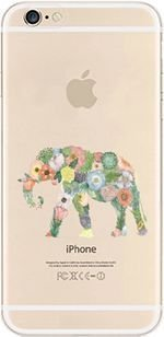 iPhone 5C , Colorful Rubber Flexible Silicone Case Bumper for Apple Clear Cover - floral elephant (Iphone 5c Cases Of Mice And Men)