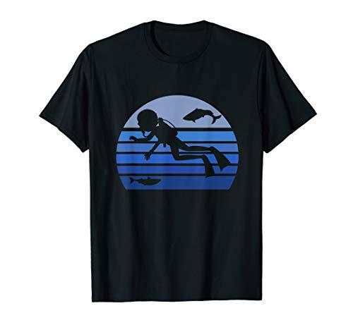 Scuba Diver Silhouette (Retro Blue Scuba Diving Diver Silhouette Gift Dive Lover )