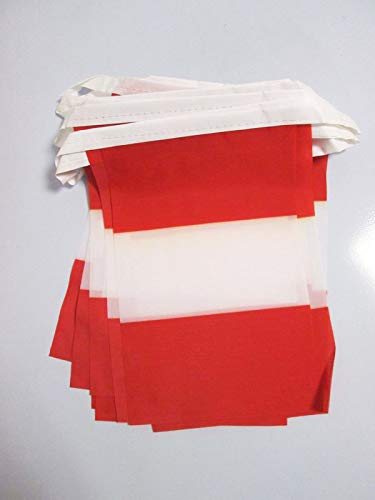 AZ FLAG Peru Without arms 6 Meters Bunting Flag 20 Flags 9'' x 6'' - Peruan Civil String Flags 15 x 21 cm