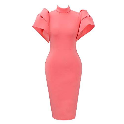 Kulywon Bodycon Dress Women Plus Size Vintage Ruffled Turtle Neck Cloak Sleeve Pencil Party Dress Pink
