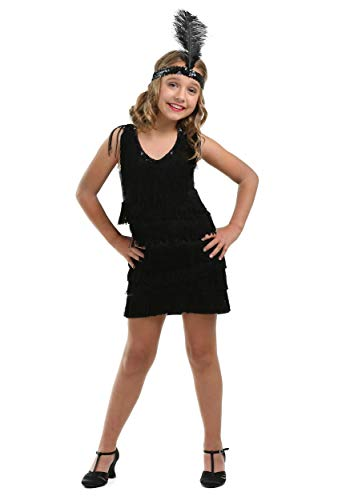 Kid's Black Fringe 1920s Flapper Costume Girls Flapper Dress Medium ()
