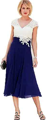 18ff169e83 Gotidy Women s Tea-Length Mother of The Bride Dress V Neck Short Sleeve  Formal Evening