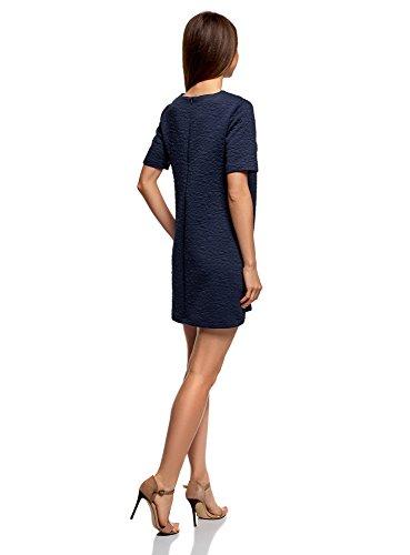 Collection Tessuto Strutturato Blu Dritto Donna 7900n oodji in Abito PqwdcYX