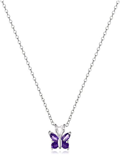 [Sterling Silver Amethyst Butterfly Pendant Necklace, 18