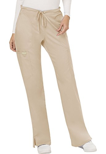 WW Revolution by Cherokee Women's Mid Rise Moderate Flare Drawstring Pant, Khaki, M (Drawstring Cargo Uniform)