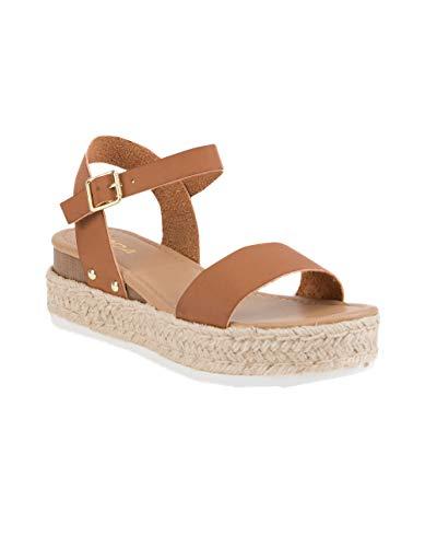 (SODA Clip Tan Espadrille Flatform Sandals, Tan, 8.5 )