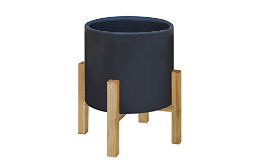 TABOR TOOLS Ceramic Planters Including Natural Bamboo Stand, Modern Decor Table Top Planter. YG611A. (Large, Black Matte)
