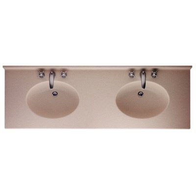 Swan CH022732B.126 Chesapeake Solid Surface Double-Bowl Vanity Top 73-in L X 22-in H X 6.125-in H Cloud Bone