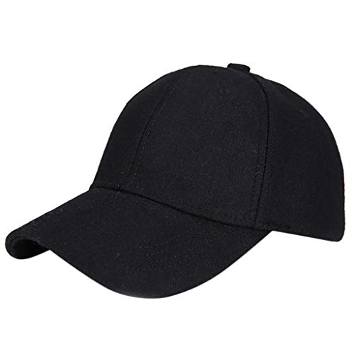 WaiiMak Baseball Cap with Classic Adjustable Fastner Boys Mens Winter Hairy Hat (Black) -