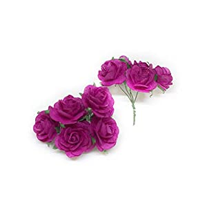 "Savvi Jewels 1"" Fuchsia Pink Paper Flowers Paper Rose Artificial Flowers Fake Flowers Artificial Roses Paper Craft Flowers Paper Rose Flower Mulberry Paper Flowers, 20 Pieces 2"