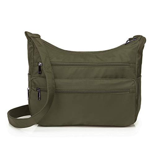 Volcanic Rock Lightweight Shoulder Bags Messenger Handbags Multi Pocket Nylon Waterproof Crossbody Bags (Handbag Green Casual)