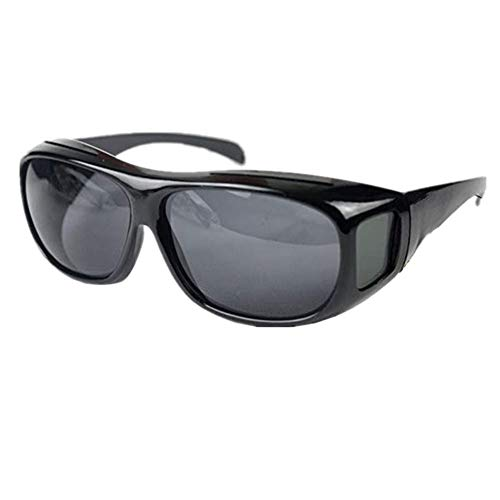 CLEVER BEAR HD Night Vision Wraparounds Wrap Around Polarized Sunglasses for Men Unisex Anti Glare UV Protection (Black Frame, Black Lens)