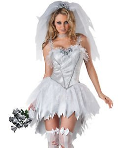 [LanLan Zombie Undead Bride Sexy Adult Halloween Costume] (Costumes For Adults Diy)