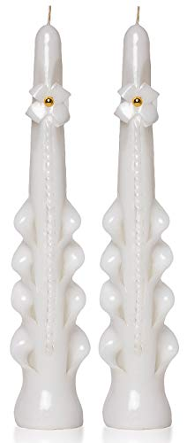 Set of 2 Taper Candles White Gold 9