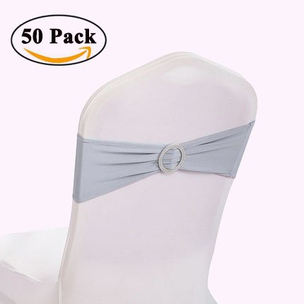 GFCC Spandex Elastic Chair Sashes with Buckle Slider Sashes Bows,Wedding Banquet Party Chair Bands(50PCS,Sliver Grey) (Bows Grey Christmas)