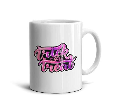 DoorSignHHH Pink Trick or Treat Halloween Simple Coffee Mug Cute White Ceramic Gift Reusable Travel Cup