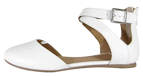 Cambridge Select Women Gesloten Ronde Teen Buckled Crisscross Enkelbandje Ballet Plat Wit Pu