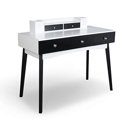 39.37 inch Home Office Writing Desk Station with 5 Drawers 2 Organizer, Removable Floating Hutch (Black&White)