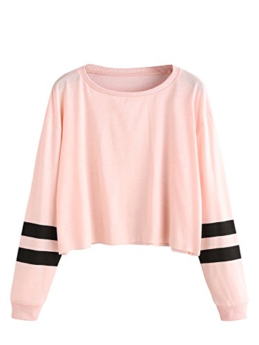 f45e24037256da SweatyRocks Women s Striped Long Sleeve Crewneck Crop Top Sweatshirt Pink S