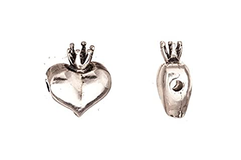 cord slider beads, antique-silver plated heart with crown crystal setting 21x18mm fits 2.5mm Swarovski - Crown Slider Charm