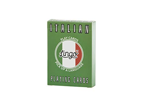 Italian - Lingo Playing Cards | Language Learning Game Set | Fun Visual Flashcard Deck to Increase Vocabulary and Pronunciation Skills - 54 Useful Phrases