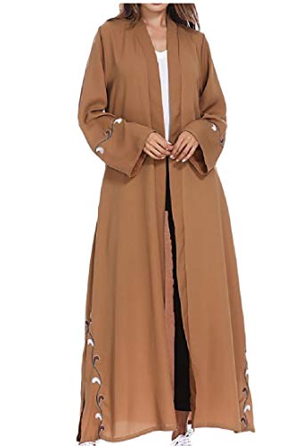 Sweatwater Women's Abaya Smocked Muslim Saudi Arabia Turkey Cardigan Cover Ups Camel L -