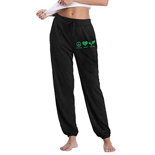 Peace Love Vegan Women's Active Yoga Lounge Sweat Pants Pockets
