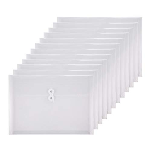 (TIENO Plastic Envelopes with String Closure Clear Side Loading Folders Legal Size Paper Office Organizer 12 Packs White)