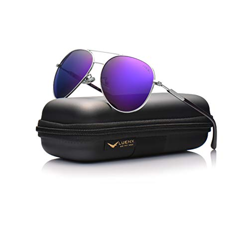 LUENX Aviator Sunglasses for Women Polarized Mirror with Case - UV 400 Protection 60MM