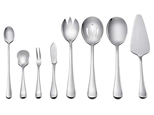 LIANYU 8-Piece Serving Utensils, Stainless Steel Flatware Hostess Serving Set, Mirror Finished, Dishwasher Safe