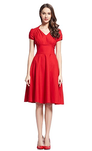 Waisted Dress Women's Stretch neck piece Knee Red High Long Angcoco Sexy V One PEwxqCqdT