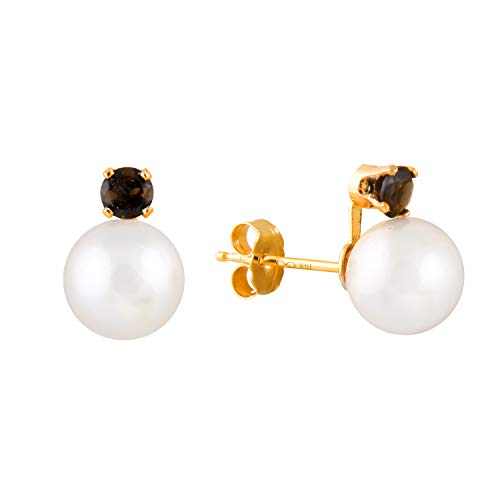 14K Yellow Gold Handpicked AAA Quality Round Genuine White Freshwater Cultured Pearl Stud Earrings Set with Smokey Quartz