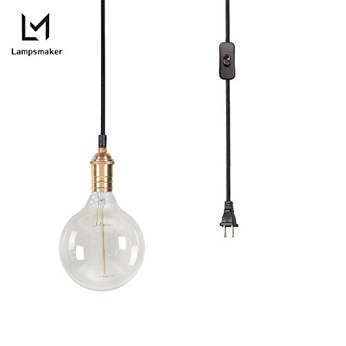 LAMPSMAKER Industrial Edison Vintage Metal Style 1-Light Adjustable Mini Pendant Lighting Glass Hanging Lamp With KitchenS82757 (Light Pendant Mini In Plug)