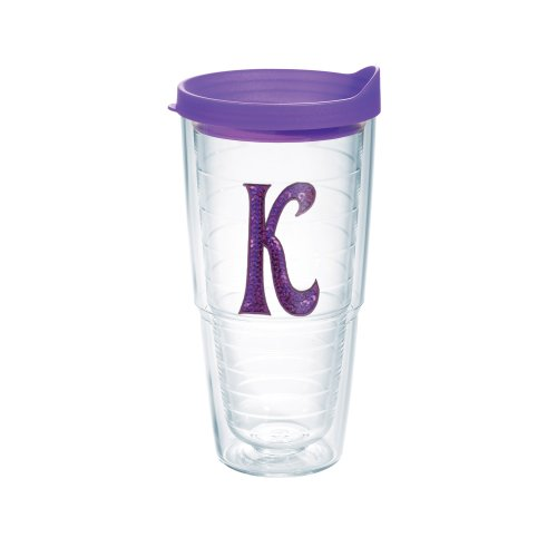 Tervis Tumbler with Letter-K in Purple Sequins, - Tumbler With Letter K