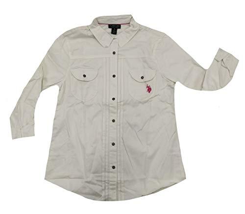 (U.S. Polo Assn. Juniors' Long Sleeve Stretch Poplin Woven Shirt, Off-White, Medium)