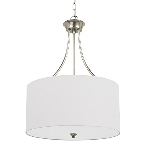 Etched White Opal Glass Diffuser - Sea Gull Lighting 65953-962 Stirling Three-Light Pendant with Satin Etched Glass Diffuser and White Linen Fabric Shade, Brushed Nickel Finish