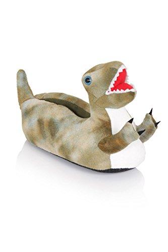 NIFTY KIDS 3D Dinosaurier weich Pantoffeln gepolstert Jungen und Mädchen NEUHEIT Schuhwerk Green T-Rex