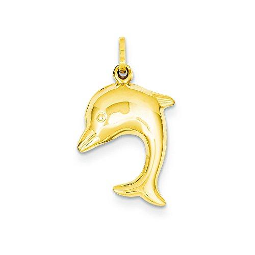 14k Hollow Dolphin Charm - 14k Hollow Dolphin Charm