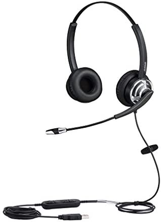 emaiker USB HeadsetMicrophone Noise Cancelling and Volume Controls Computer Headphone HeadsetVoice Recognition Mic for PC Softphones Business Skype Lync Conference Online Course and More