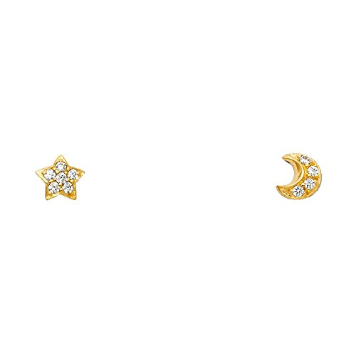 (14k Yellow Gold Star & Moon Stud Earrings with Screw)